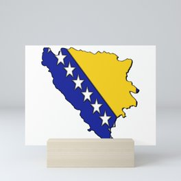 Bosnia and Herzegovina Map with Flag Mini Art Print
