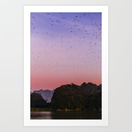 Pink sunset in Hpa-An Myanmar   Asia Fine art   Color - pink - travel - photography - Art print Art Print