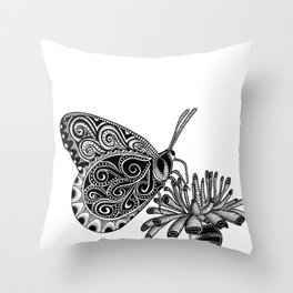 Tangled Butterfly on White Throw Pillow