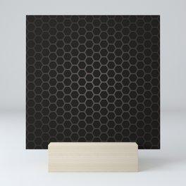 Industrial Black Pentagon Honeycomb Geometric Pattern Mini Art Print