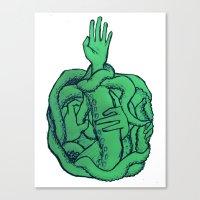cthulu Canvas Prints featuring Sea Green by Ninjaninaiii