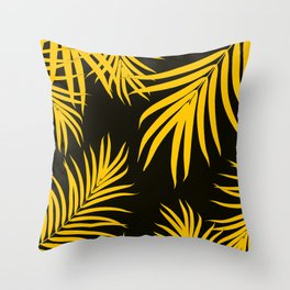 Palm Leaves Pattern Yellow Vibes #1 #tropical #decor #art #society6 Throw Pillow