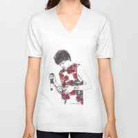 louis V-neck T-shirts featuring Floral Louis by Coconut Wishes
