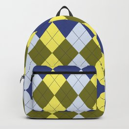 Navy Blue Canary Yellow Olive Green Argyle Backpack