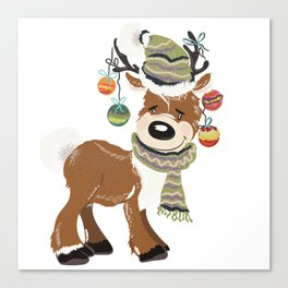 Christmas deer, with baubles in horns. Pretty childish design Canvas Print