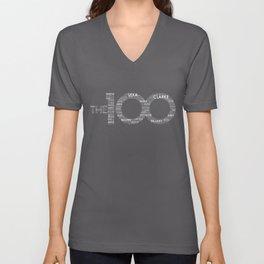The 100 - Typography Art [white text] Unisex V-Neck