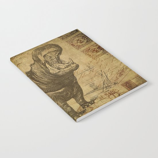 Vintage retro Hippo wildlife animal africa Notebook