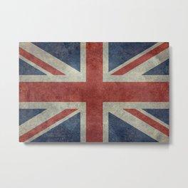 UK Flag, Dark grunge 3:5 scale Metal Print
