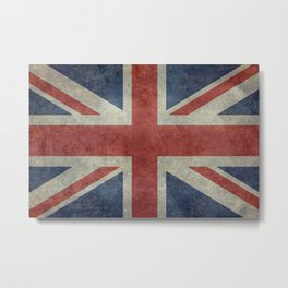 UK Flag, Dark grunge 3:5 scale Metal Print
