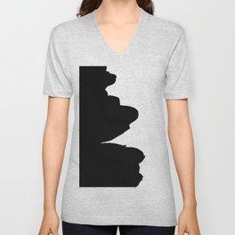 Modern black white abstract contemporary art Unisex V-Neck