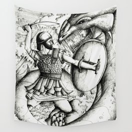 Perseus fighting the sea monster Wall Tapestry