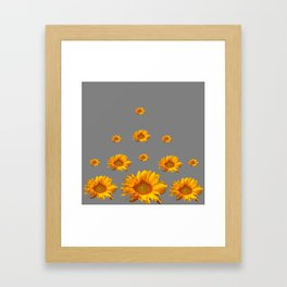 RAINING GOLDEN YELLOW SUNFLOWERS GREY Framed Art Print