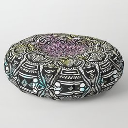 DETAILED CHARCOAL MANDALA (BLACK AND WHITE) WITH COLOR (PINK YELLOW TEAL) Floor Pillow