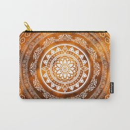 'Golden Destiny' Gold Orange & White Flower Of Life Boho Mandala Design Carry-All Pouch