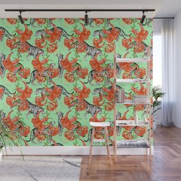 Tigers and Tiger Lilies (Green Background) Wall Mural