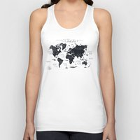 letters Tank Tops featuring The World Map by Mike Koubou