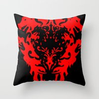 lions Throw Pillows featuring Lions by Littlefox