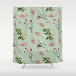 Thistle Floral Toss in Sage Green Shower Curtain