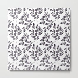 Black on white watercolor twigs. Metal Print