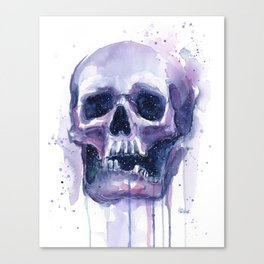 Skull in Watercolor Galaxy Space Canvas Print