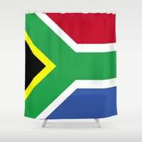 south africa Shower Curtains featuring South Africa Flag (1994) by D.A.S.E. 3