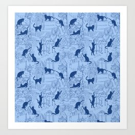 Blue cat caffe Art Print