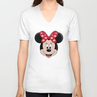 minnie V-neck T-shirts featuring Minnie Mouse by Yuliya L