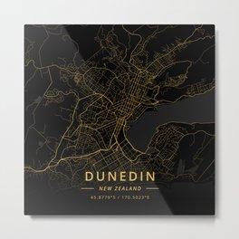Dunedin, New Zealand - Gold Metal Print