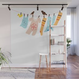 Clothes Line Wall Mural