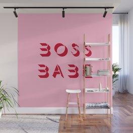 Boss babe pink artwork Wall Mural