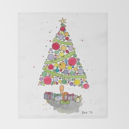 Christmas Tree Sketch Throw Blanket