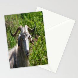 Portrait of A Horned Goat Grazing Stationery Cards