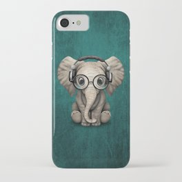 Cute Baby Elephant Dj Wearing Headphones and Glasses on Blue iPhone Case