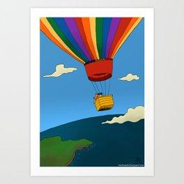 Dharma & Maya in a hot-air balloon Art Print