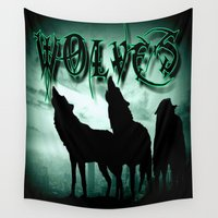 wolves Wall Tapestries featuring WolveS by shannon's art space