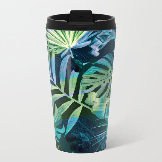 Tropical fiesta - moonlit Metal Travel Mug