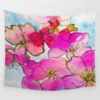 cherry blossom Wall Tapestries featuring Cherry Blossom by Marcella Wylie