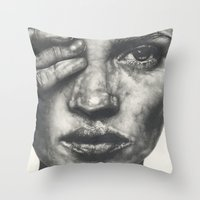 kate bishop Throw Pillows featuring Kate  by Lucy Schmidt Art