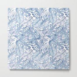 Hand painted pink blue watercolor tropical leaves floral Metal Print
