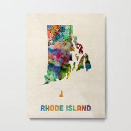 Rhode Island Watercolor Map Metal Print