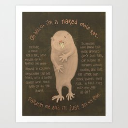 Naked Mole Rat Art Print