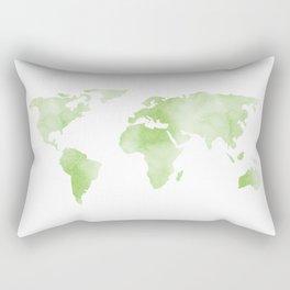World Map Light Green Planet Rectangular Pillow