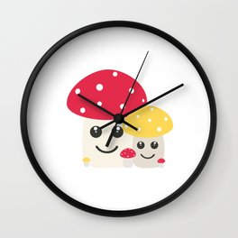 Cute colorful mushrooms Wall Clock