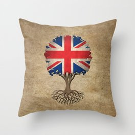 Vintage Tree of Life with Union Jack Flag of United Kingdom Throw Pillow