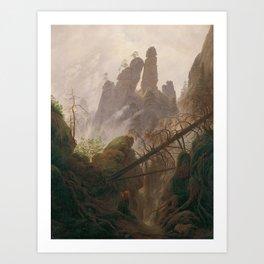Caspar David Friedrich - Rocky Ravine in the Elbe Sandstein Mountains - Felsenlandschaft im Elbsands Art Print