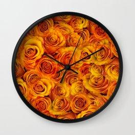 Grenadier Tangerine Roses Wall Clock