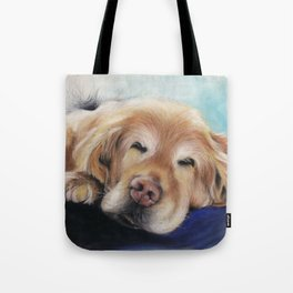 Sweet Sleeping Golden Retriever Puppy by annmariescreations Tote Bag