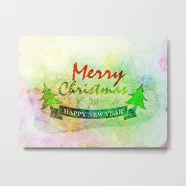 Green Merry Christmas Happy New Year Metal Print