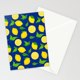 Summer Lemons Pattern - Yellow and Blue Palette Stationery Cards