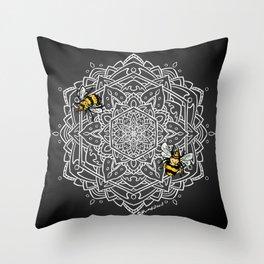 Bee Dance Mandala A - White Throw Pillow